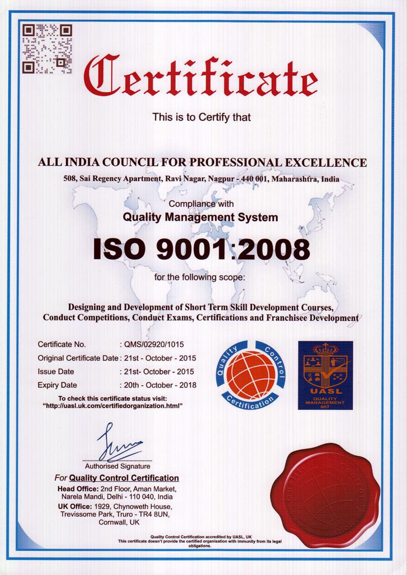 Iso 9001 Uasl Certificate Aicpe
